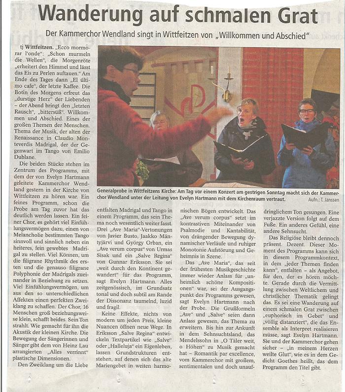 Artikel zum Konzert des Kammerchores Wendland am 19.10.2015 in der EJZ von Thomas Janssen